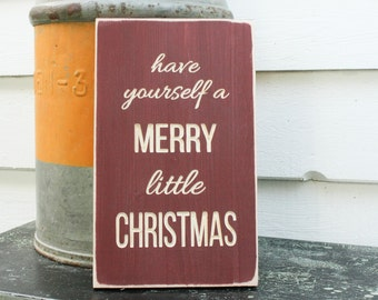 Have Yourself a Merry Little Christmas   8x12 Carved Wood Sign Christmas Decor   Engraved Shabby Chic Wooden Distressed Holiday Sign