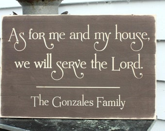 As for Me and My House We Will Serve The Lord Personalized Family Name Wood Sign - 16x24 Wedding Carved Engraved Handpainted Wooden Sign