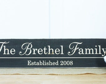 Personalized Elegant Family Name Sign | 8x30 Wedding Gift Established Date | Home Decor Wooden Sign | Carved Handpainted Rustic Wooden Sign
