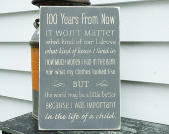 One Hundred Years from Now  | 12x18 100 Years Teacher Appreciation Gift Wooden Sign | Carved Distressed Shabby Chic Wood Sign