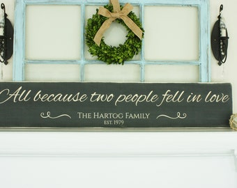 LARGE Script - All Because Two People Fell in Love  | 10x48 Personalized Last Name Carved Wedding Farmhouse Wood Sign