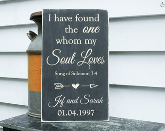 I Have Found the One Whom my Soul Loves  | 12x20 Personalized Carved Wedding Anniversary Sign | Distressed Wood Sign