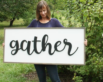 LARGE Gather Wood Sign | 22x48 Framed Farmhouse Sign | Cutout 3D Relief Wooden Sign