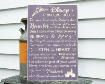 Disney PRINCESS Rules Girls Rules Disney House Rules Wood Sign - ORIGINAL wording - 16x24 Handpainted Carved Distressed Rules Sign
