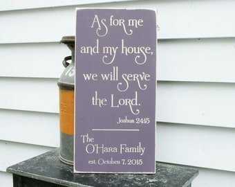 As for Me and My House We Will Serve The Lord | 12x24 Personalized Carved Wood Sign | Joshua 24:15 | Wedding Gift Rustic Wooden Sign