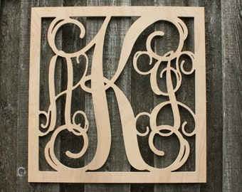 Square Wooden Monogram - Unpainted - Vine Monogram Font