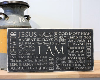 Names of God I AM Jesus Messiah Elohim Almighty God Wood Sign Rustic Subway sign - Horizontal - Carved Rustic Farmhouse Wooden Sign