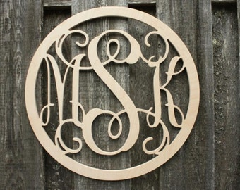 "34"" Circle Wooden Monogram - Unpainted - You Pick Font"