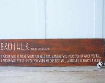 Brother Definition Carved Wooden Sign | 10x36 Engraved Distressed Wood Sign | Brothers Boys Room