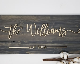 Last Name Sign w/ Lasered Farmhouse Script - Carbon | Pallet 3D Layered Sign | Housewarming Wedding Anniversary Gift | Wood Plank Sign