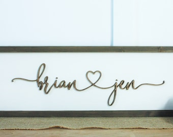 9x25 First Names with Heart  | 3D Layered Farmhouse Script - Laser Cut Lettering with Frame