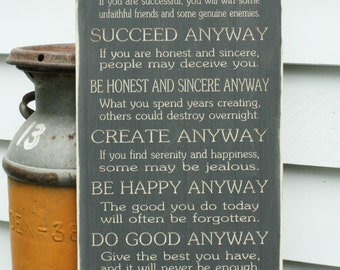 12x30 Mother Teresa Do It Anyway Sign