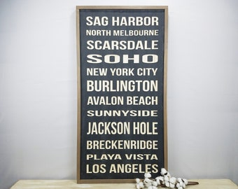 CUSTOMIZED City Places Sign | City State Landmark Carved Wood Subway Sign | Shabby Chic Distressed Farmhouse Wooden Sign with Frame