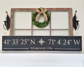 LARGE GPS Coordinates Sign  | 10x48 Customized Latitude Longitude Sign with Compass Rose | Carved Sign