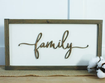 9x17 Family  | 3D Layered Wood Sign Farmhouse Script with swashes - Laser Cut Lettering with Wooden Frame