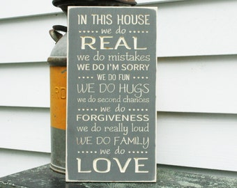 In This House We Do Rules House Rules Family Rules Real Love - 10x18 Carved Second Chances Real Mistakes Loud Love Distressed Wooden Sign