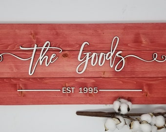 Pallet Last Name Sign w/ Farmhouse Script - Red | Laser Cut 3D Layered Sign | Housewarming Wedding Anniversary Gift | Wooden Plank Sign