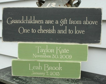 Grandparents Quote Sign with 2 Grandchildren Tiles  | 8x20 Custom Personalized Painted Carved Rustic Wooden Sign