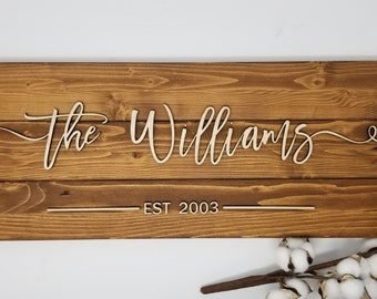 Plank Last Name Sign w/ Farmhouse Script - Chestnut | Laser 3D Layered Sign | Housewarming Wedding Anniversary Gift | Wood Pallet Sign
