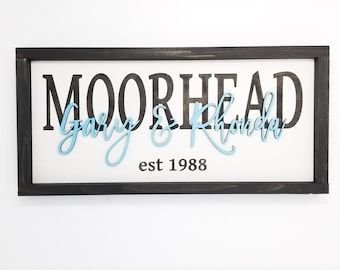 Inlaid Last Name Sign with 3D Layered First Names  | 10x20 Laser Cut Wood Sign | Engraved Wedding Anniversary Wooden Sign Farmhouse Frame