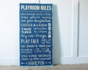 Playroom Rules House Rules Wood Subway Sign - 16x30 Distressed Farmhouse Wooden Sign -  Rustic Carved Lettering