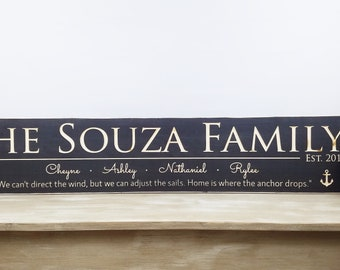 Large Last Name Sign with First Names & Quote | 10x48 Carved Last Name Date Established Wood Sign | Wedding Sign | Navy Sign