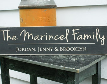 Script Last Name Sign  | 8x30 Carved Wood Sign Family First Names | Personalized Wooden Sign