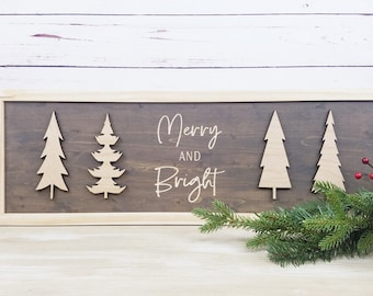 IN STOCK - Merry and Bright Wood Sign | Carved Sign with 3D Laser Trees in Vintage Stain