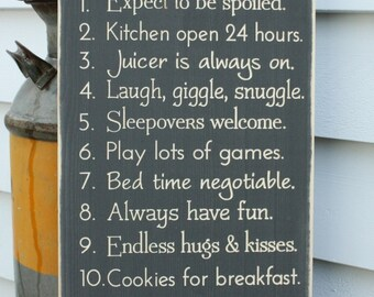 Grandma's House Rules  | 12x24 Customized Nana Papa Family Rules Wood Sign | Carved Engraved Distressed Wooden Sign