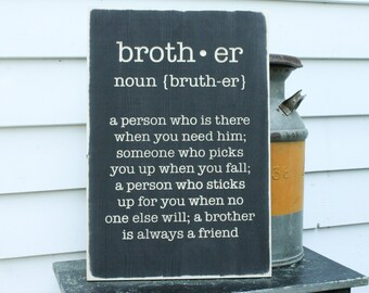 Brother Definition Webster's Carved Wooden Sign - 16x24 Engraved Distressed Wood Sign