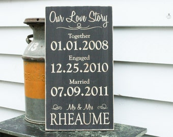Our Love Story Wedding Date Sign  | 12x22 Carved Important Dates Engaged Wood Sign | Personalized Rustic Wooden Engraved Sign