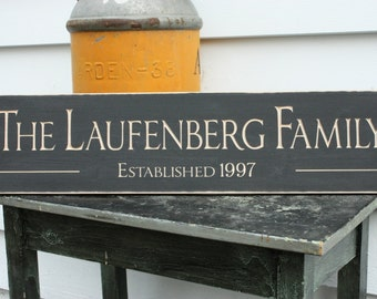 Classic Family Name Sign  | 8x30 Carved Personalized Established Date | Wedding Wood Sign | Engraved Rustic Wooden Sign
