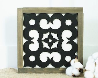9x9 Mosaic Tile - Reese  | Farmhouse Decor 3D Laser Cut Gallery Wall Sign - Mosaic Framed Wood Sign