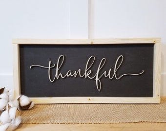 IN STOCK | Thankful Wood Sign | 9x20 Farmhouse Sign with Pop Out Lettering | Laser Cut 3D Wood Sign with Frame | Fast Shipping
