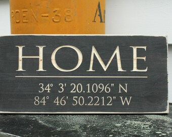 Home GPS Coordinates Sign  | 8x16 Distressed Farmhouse Porch Sign Housewarming Sign | Custom Sign