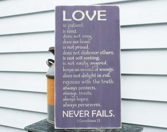Love Never Fails 1 Corinthians 13 Carved Wood Sign Love is Patient - 16x30 Carved Engraved Shabby Chic Handpainted Rustic Wooden Sign