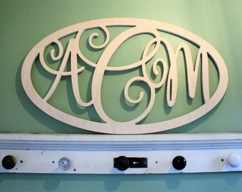 Oval Elegant Monogram Wooden Monogram Letter Home Nursery Wedding Guestbook Decor - Unpainted - Elegant Monogram Font