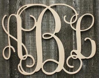 Wood Vine Monogram Letter Nursery Wedding Guestbook Home Decor - Unpainted - Vine Monogram Font