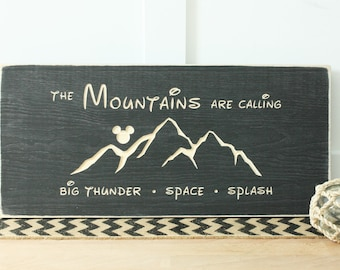 Disney Mountains are Calling Wooden Sign - 10x20 Carved Rustic Wooden Sign Splash Space Thunder Mountain