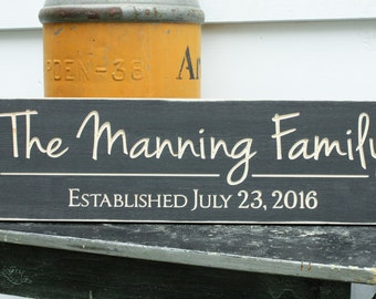 Script Last Name and Date Sign  | 8x30 Personalized Carved Family Name Wood Sign | Wedding Housewarming Rustic Wooden Sign