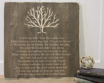 Family Tree Memorial A Limb Has Fallen Rustic Wood Sign - 20x20 Farmhouse Carved Funeral Wooden Sign