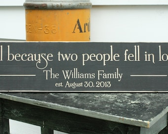All Because Two People Fell In Love  | 8x30 Personalized Family Name Established Date | Wedding Carved Rustic Wooden Sign