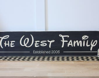 Disney Family Name Sign with Established Date - 8x30 Carved Rustic Wooden Sign
