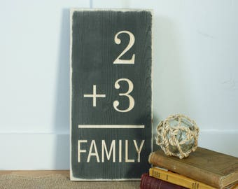Family Math  | 8x12 Customize to Your Family | Farmhouse Gallery Wall Carved Wooden Distressed Sign