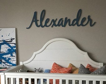 "Large PLAYFUL Wooden Script Name  | 12"" Wood Name Farmhouse Nursery Baby Child"