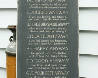16x34 Mother Teresa Do It Anyway Wood Sign