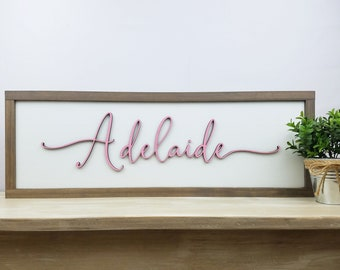 9x25 Script First Name | Nursery Sign Baby Girl Sign Nursery Decor | 3D Layered Farmhouse Script | Laser Cut Lettering with Frame