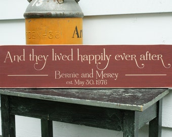 And They Lived Happily Ever After  | 8x30 Last Name Carved Wood Sign | Shabby Chic Disney Wedding Sign Gift