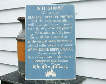 Disney Rules with Castle In This House We Do Disney House Rules Family Rules Rustic Wood Sign - 16x24 Carved Rules Sign