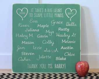 16x16 Personalized Teacher Appreciation Thank You Gift Wood Sign | It Takes a Big Heart to Shape Little Minds | End of Year Teacher Gift